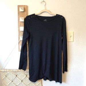 New J. Jill Pima Laced Shoulder Tunic in Navy
